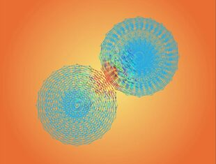 Digital artwork showing two blue circles touching against an orange backdrop. It has a celestial quality.