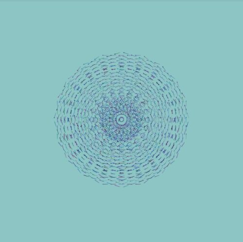 Digital artowrk showing a circular blue shape against a turquoise background