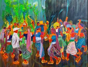 Colourful painting of a group of people dancing and celbrating