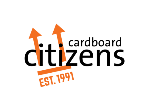 cardboard citizens in black with two upward pointing arrows in orange.