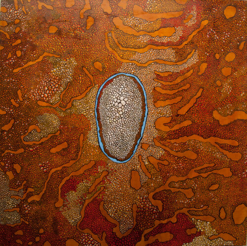 abstract painting with a multplicity of cell shapes