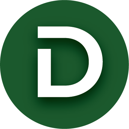 A large white D within a green circle.