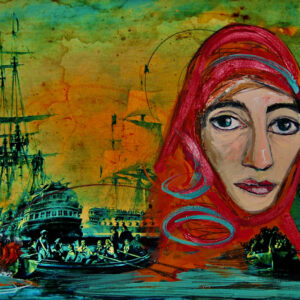 predominantly green painting contains the image of a sailing boat and a female figure with a red headscarf