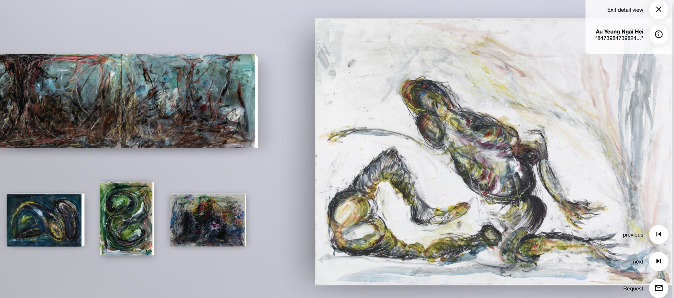 a virtual gallery with grey walls displays expressionistic artworks