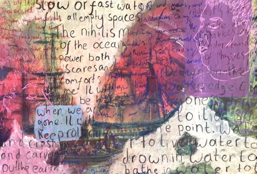 Collage of the image of a ship with writing across the canvas