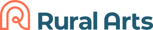 """The Rural Arts logo - an orange curly R with """"Rural Arts"""" written next to it in navy blue text"""