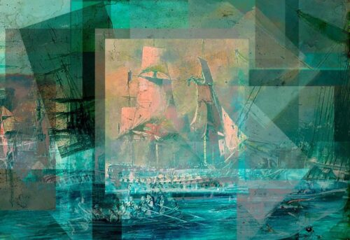artwork in a cubist style of a turquoise ship