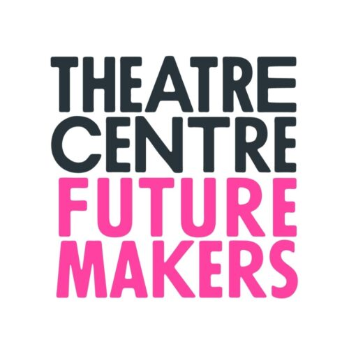 The image is a square logo with the words Theatre Centre written in bold, top centre, and the words Future Makers written in pink below it.