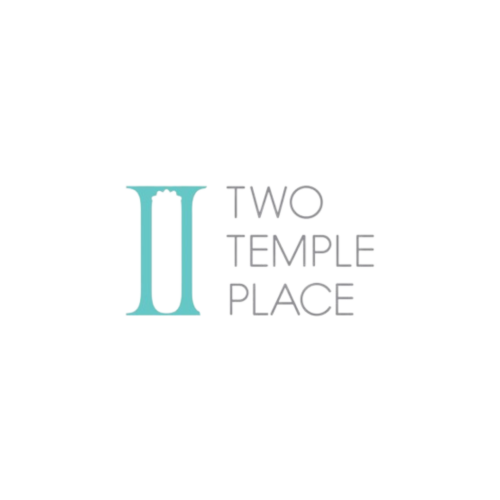 II stylised as columns in blue next to Two Temple Place in grey capital text.