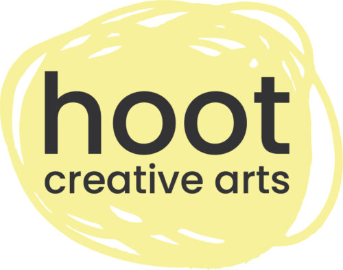 hoot creative arts in black text on a yellow scribbled circle