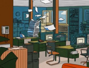 graphic of the inside of an office with papers flying