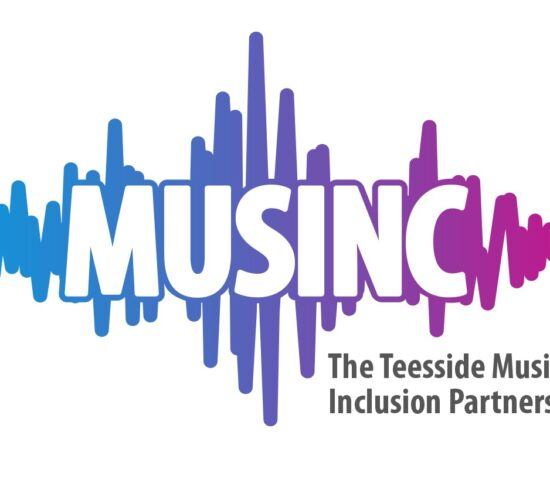 The Musinc logo features a sound wave design in a purple and blue gradient in the background with the word 'MUSINC' in white, bold upper case lettering in the foreground.