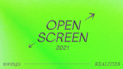 A lime green background with the words 'Open Screen 2021' in embossed silver text. Two silver arrows point diagonally away from the words.