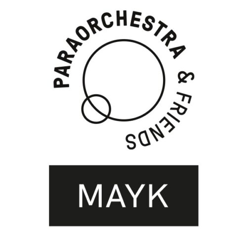 Two logos. On the top - Large black circle, small black circle overlapping. Text around the outside reads: Paraorchestra and Friends. On the bottom, black rectangle with MAYK in uppercase in white.