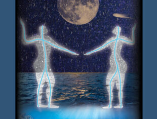 Book cover showing an illustration of two human-like water deities facing each other under the moon