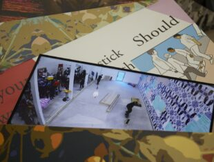 A collection of illustrations and a photograph of inside a gallery.
