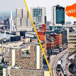 promotional image of a city skyline branded with an orange Mindscapes logo