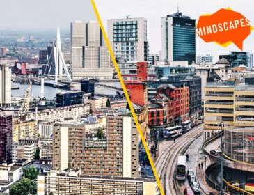 promotional image of a city skyline branded with an orange Mindscapes logo