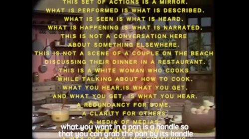 screenshot from a film show a middle-aged white woman overlayed with yellow text