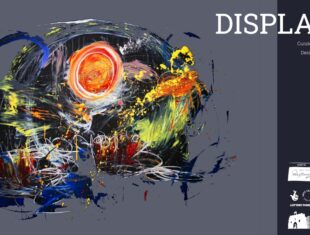 exhibition flyer with abstract painting