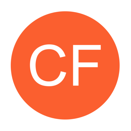 Community Focus logo - capital CF in white within an orange circle