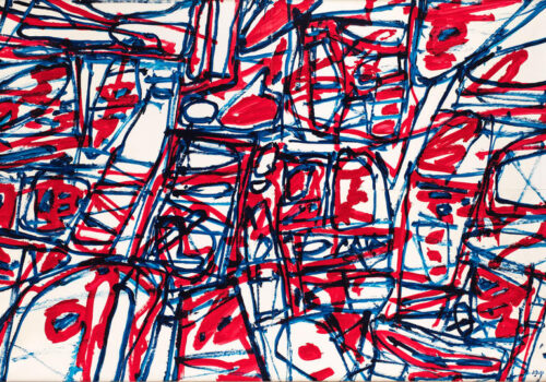 An image of an artwork by Dubuffet with red, black and blue squiggles on a white background