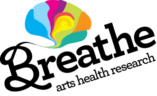 Breathe's logo is a picture of a multicoloured brain with the words Breathe Arts Health Research below in swirly black writing
