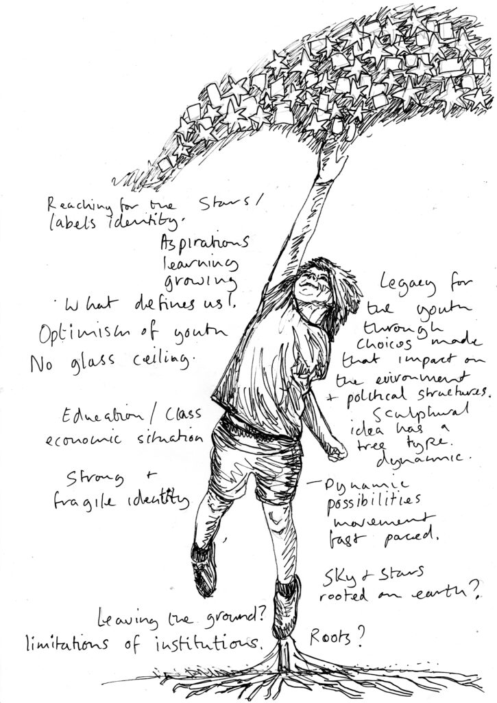 Pencil drawing of a young boy jumping reaching up with his right hand raching for some stars. Small scribbly text around the outside with handwritten notes.