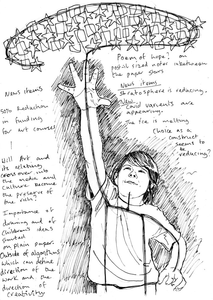 pencil drawing of a young boy from the waist up with his right hand reaching up towards some stars above him. handwritten text around the edge on the right and left of notes relevant to the work