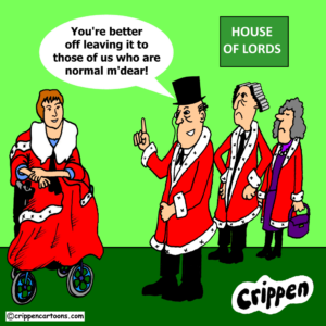 a cartoon about the attack on disabled Peers in House of Lords