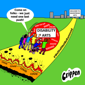 cartoon about disability arts crisis