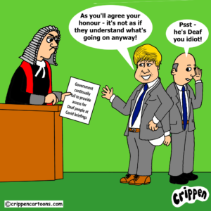 cartoon about gov failing to provide BSL at covid briefings