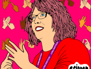 cartoon of a white woman with pink hair