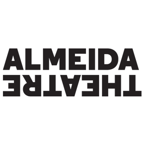 Almeida Theatre written in black lettering with a white background. Almeida is right side up where Theatre is upside down as if mirroring each other.