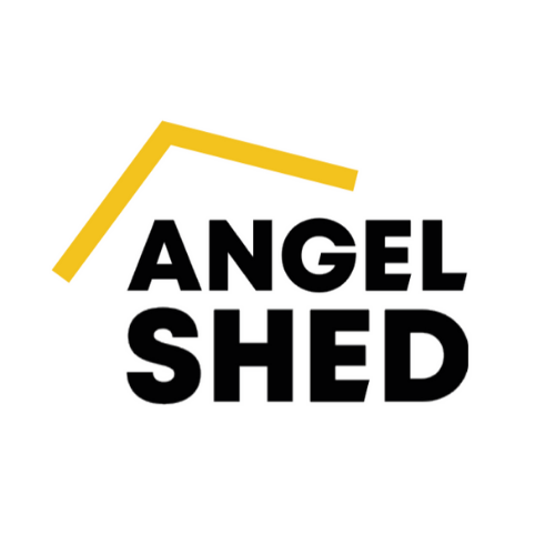 Angel Shed in bold black capital below the outline of a yellow roof.