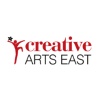 Outline of a dancing person in red. To the right, creative in red above Arts East in black capitals.