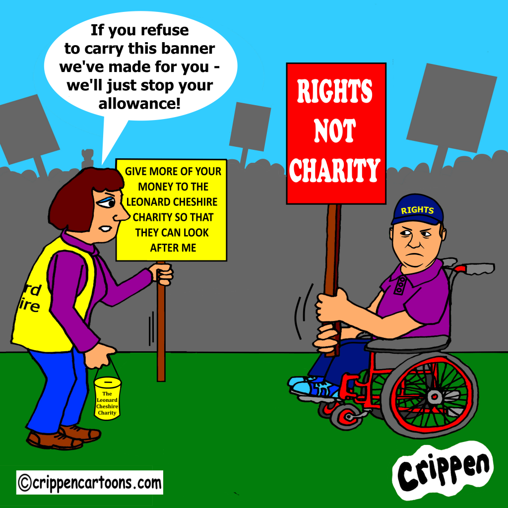 Cartoon of a white, male wheelchair-user holding a rights not charity banner