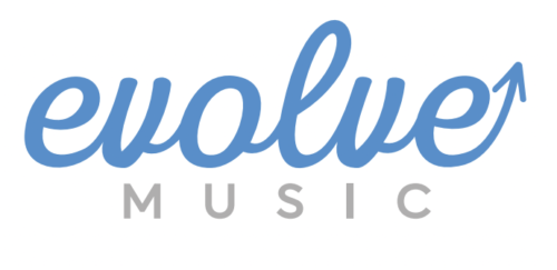 Evolve in blue cursive text above Music in grey capitals. All on a white background.