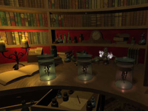 Computer generated image of specimen jars in low lighting in a library setting.