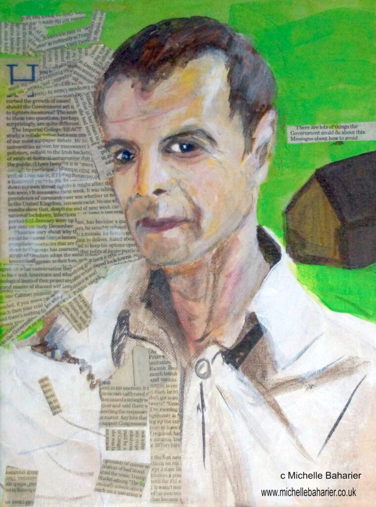 portrait painting of a white male against a green background, surrounded by newsprint