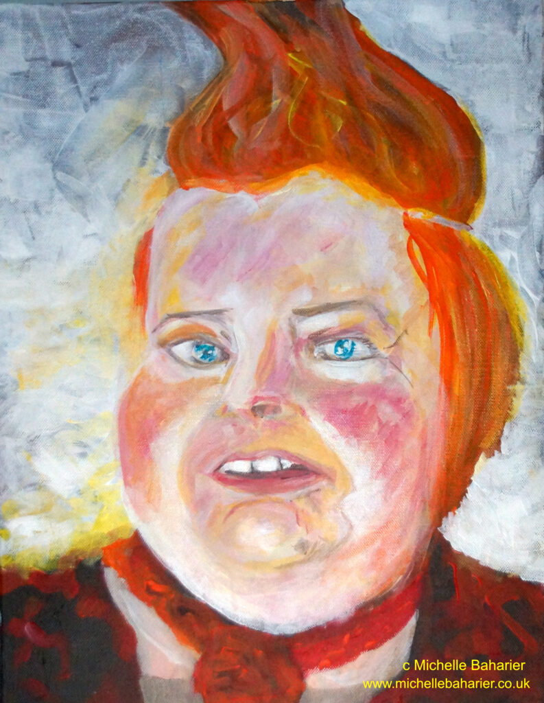 portrait painting of a white woman with bright orange hair