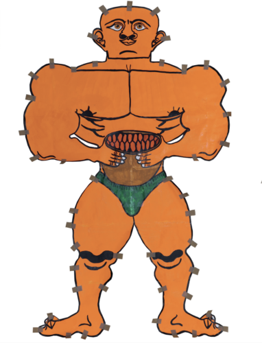 An orange muscle man with green pants on, holding a small pot/piece of fruit in front of them with both hands. Small bits of brown tape feature around the edge.