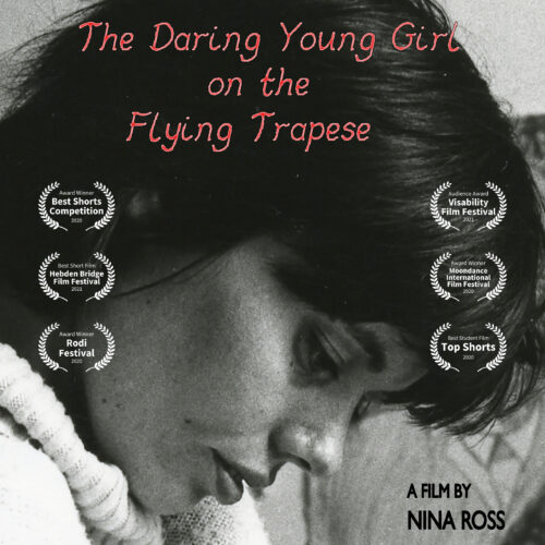 Photograph of the artist as a young woman, with credits for the many film festivals where the film has been shortlisted or won prizes and commendations
