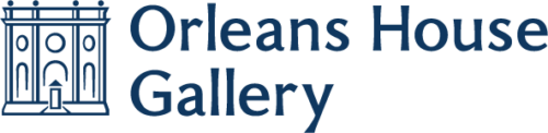 Orleans House Gallery Logo is written in dark blue with a drawn outline of the Octagon Room to the left
