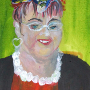 portrait painting of a white woman wearing jewelery, against a green background