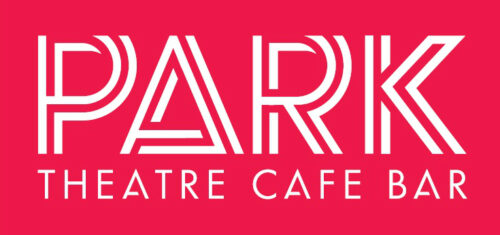 Park in large white double lined capital letters. Below in smaller white capitals is the text: Theatre Cafe Bar. All on a red background.