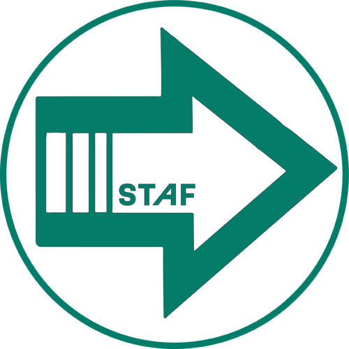 A green arrow with a white background. The words STAF at the beginning of the arrow which makes up the arrow line