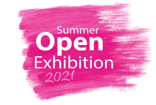"""Summer Open Exhibition 2021 Logo - The image has a large paint brush mark in bright pink with white writing on top reading """"Summer Open Exhibition 2021""""."""