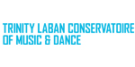 Trinity Laban Conservatoire of Music and Dance in blue capitals on a white background.