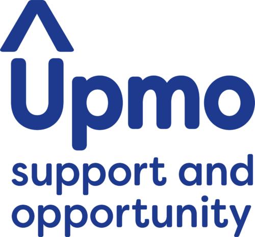 """A blue text logo of the word 'Upmo'; there is an arrow pointing upwards above the letter """"U"""""""